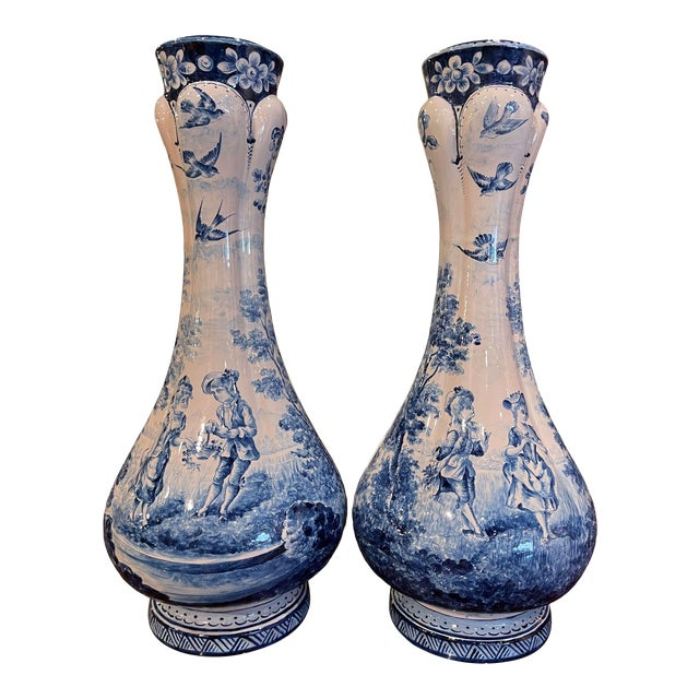 Pair of 19th Century French Delft Style Faience Vases With Blue and White Decor For Sale