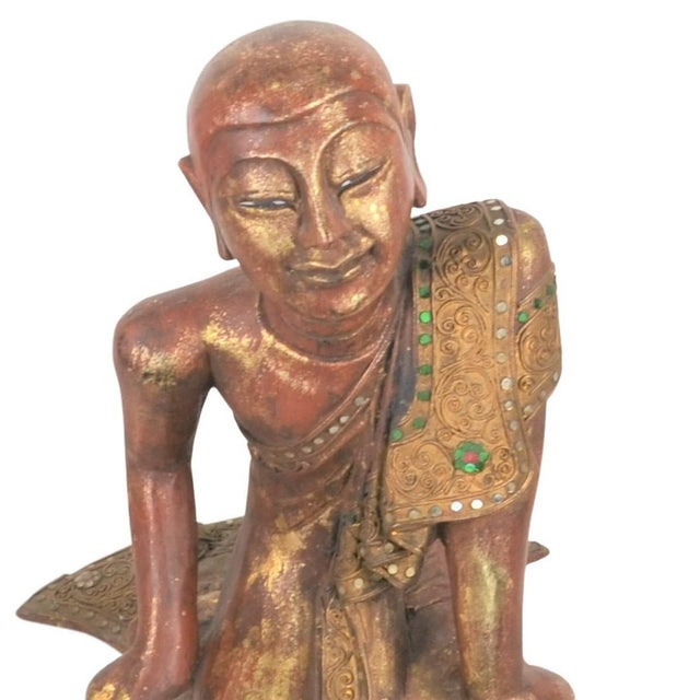 1980s Vintage Thai Wooden Buddha In Wood For Sale - Image 5 of 6