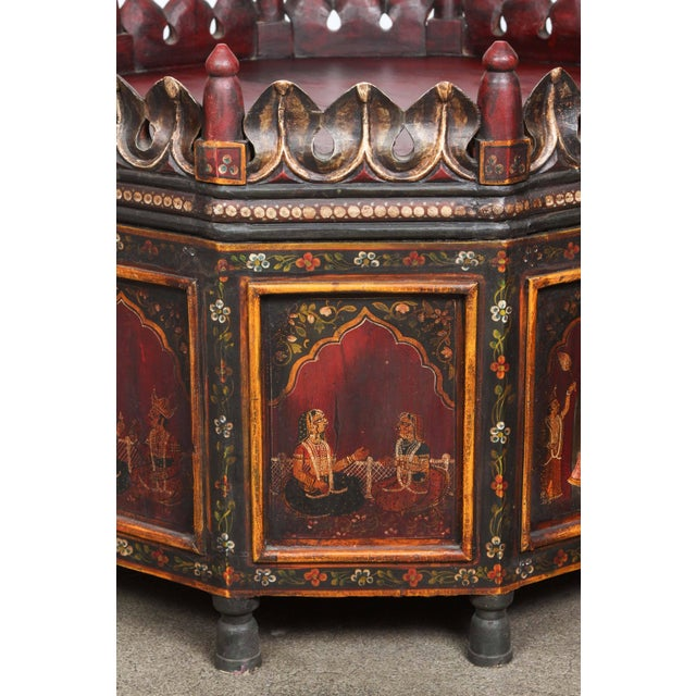 Anglo-Indian 20th Century Anglo Indian Hand-Painted Teak Coffee Table For Sale - Image 3 of 10