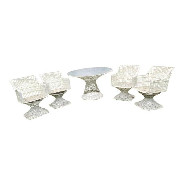 Russell Woodard Spun Swivel Fiberglass Style Chair Table Patio Set 5 Pc For Sale