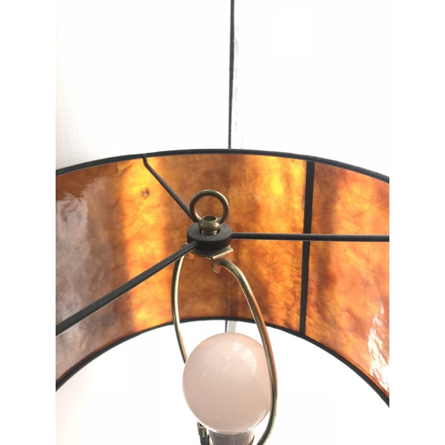 1950s Vintage Brass Lamp With Pottery Barn Mica Shade For Sale - Image 5 of 7