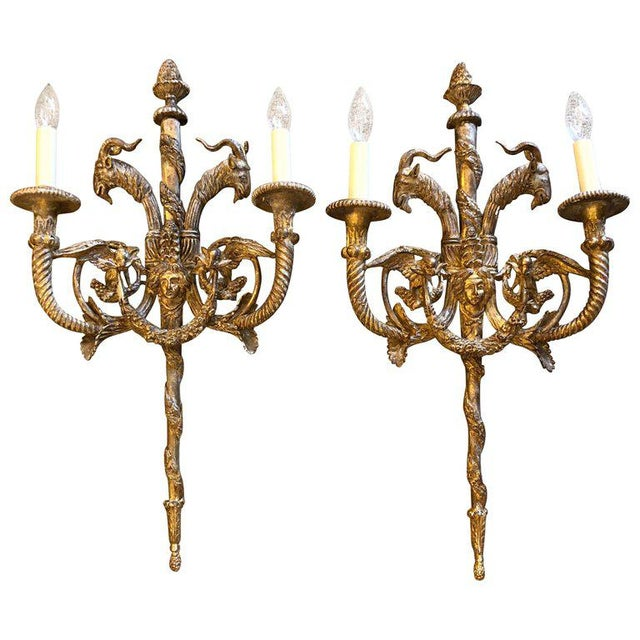 1940s Neoclassical Ornate Giltwood Sconces - a Pair For Sale - Image 12 of 12
