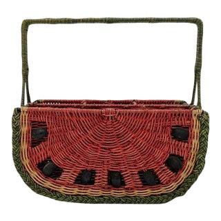 20th Century Folk Art Wicker Watermelon Basket For Sale