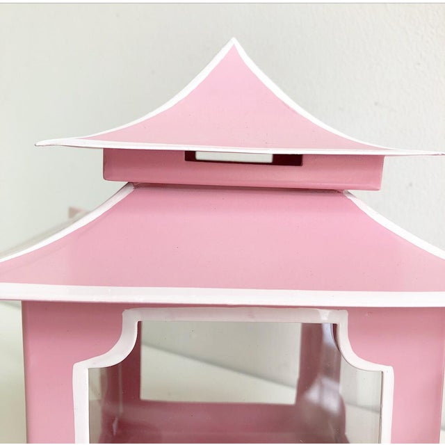 Pair of Pink Pagoda Candle Lanterns With White Stripe Detail With Bells For Sale - Image 10 of 13