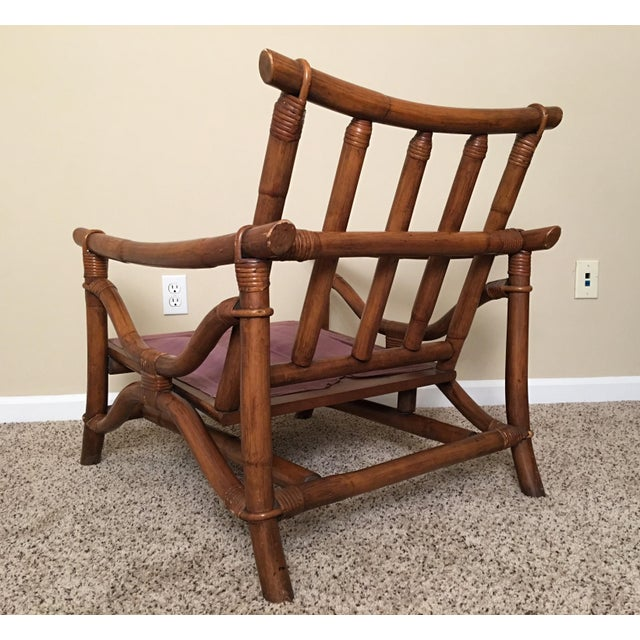 Brown Mid Century Modern Rattan Lounge Chair & Ottoman For Sale - Image 8 of 13