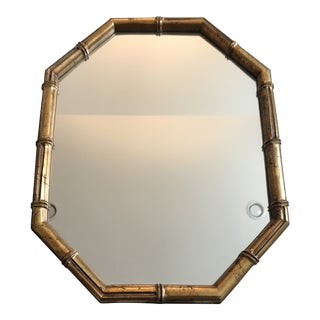 Hollywood Regency Faux Bamboo Gold Mirror For Sale