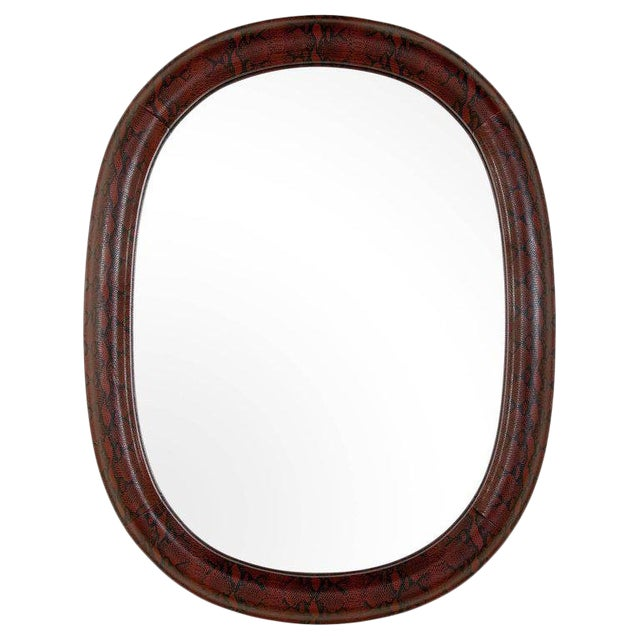Contemporary Mid-Century Modern Burgundy Leather Mirror With Embossed Print For Sale - Image 3 of 10
