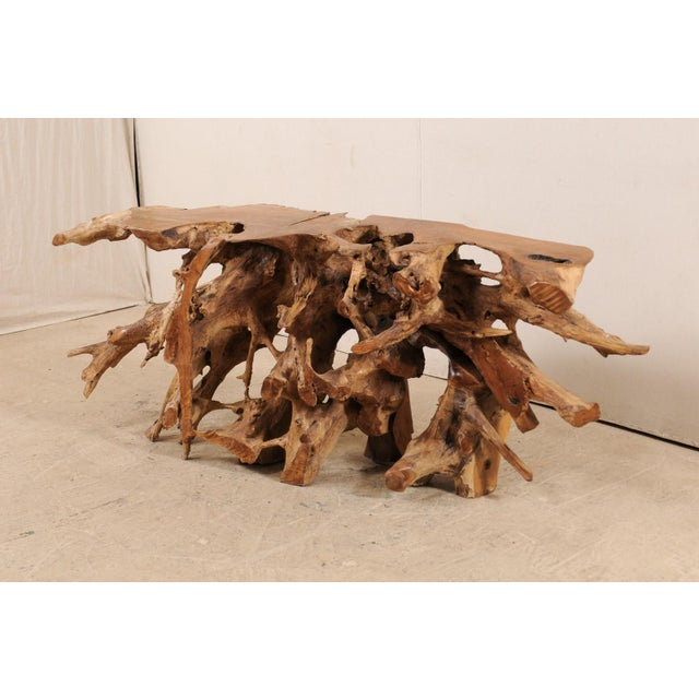 Wood Tropical Hardwood Teak Root Console Table For Sale - Image 7 of 12