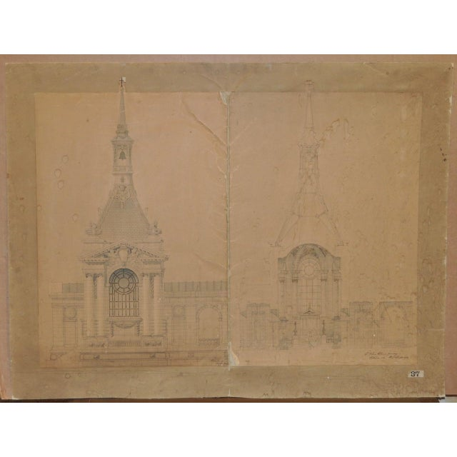 This is a print with 18th to 19th century old master architectural drawings. The drawings depict the interior and exterior...