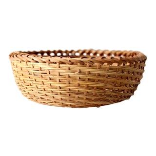 Vintage Woven Basket Bowl For Sale