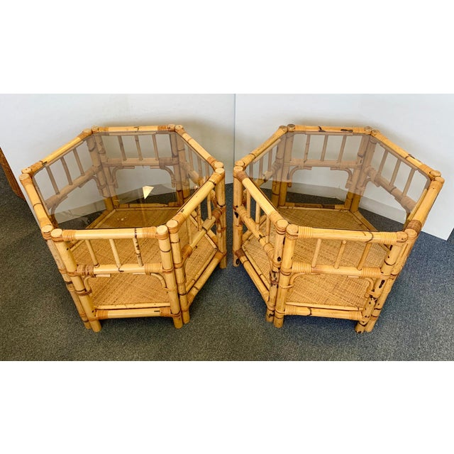 1960s 1960s Boho Chic Octagonal Rattan and Bamboo End Tables With Glass Tops - a Pair For Sale - Image 5 of 12
