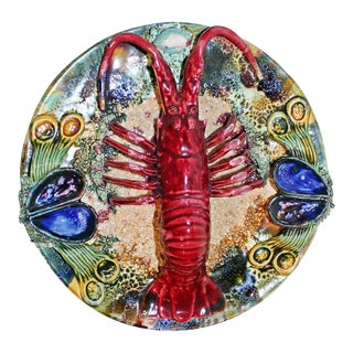 Ceramic Majolica Lobster Plate