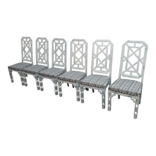 Chinese Chippendale Fret Work Dining Chairs - Set of 6 For Sale