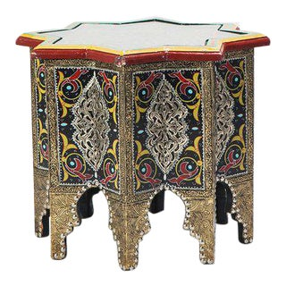 Handmade Moroccan Star-Styled Table with Glass Top For Sale