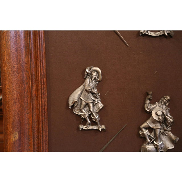 Figurative 19th Century French Framed Four Musketeers and Swords Display Metal Figures For Sale - Image 3 of 9
