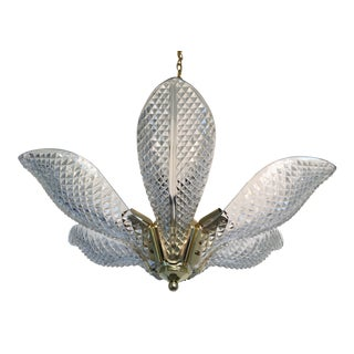 1970s Cut Glass Lotus Chandelier