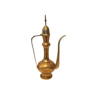 Indian Etched Brass Aftaba Water Pitcher For Sale