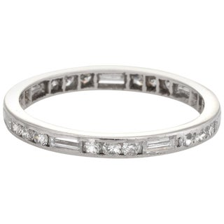 Antique Deco Diamond Wedding Band Vintage Eternity Platinum Mixed Cuts For Sale