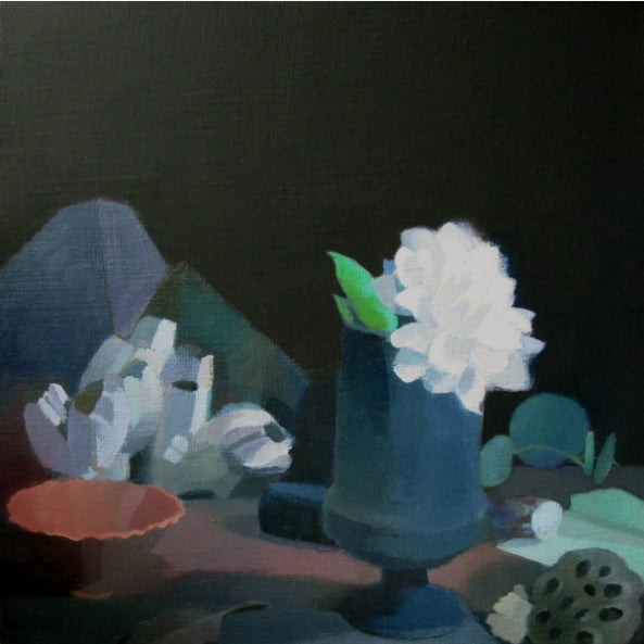 """Illustration Stephanie London """"Illuminated by a Full Moon"""" Still Life Flowers Painting on Canvas For Sale - Image 3 of 3"""