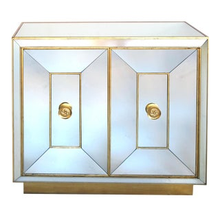 Glamorous American Hollywood Regency Mirrored Two-Door Cabinet For Sale