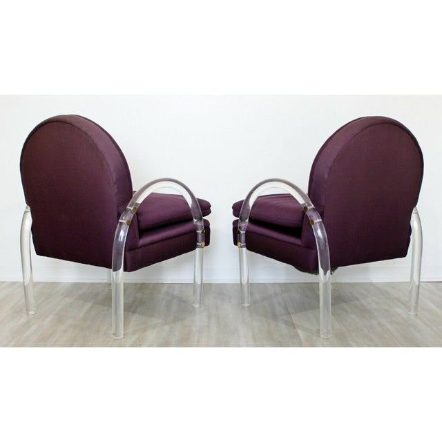 Pace Mid Century Modern Pair Pace Lucite Armchairs Charles Hollis Jones Style 1970s For Sale - Image 4 of 8