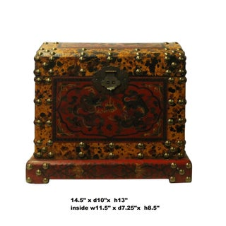 Chinese Distressed Yellow Red Dragon Graphic Trunk Box Chest Preview