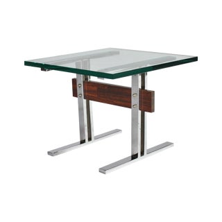"""Midcentury """"I"""" Frame Chrome Wood & Glass End Table For Sale"""