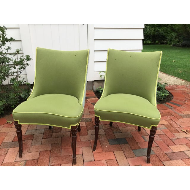 Vintage Apple Green Upholstered Dining Chairs - a Pair For Sale - Image 10 of 10