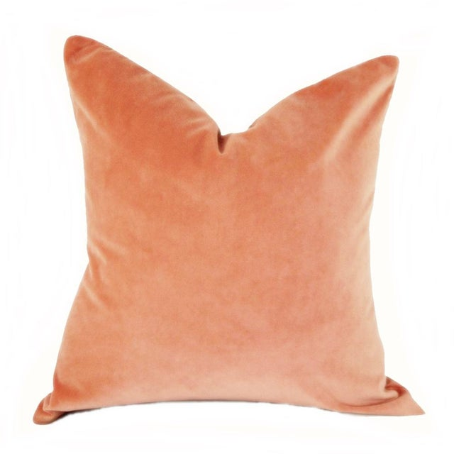 Boho Chic Coral Velvet Pillow Cover For Sale - Image 3 of 4