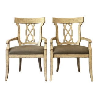 Bernhardt Bon Maison French Provincial Arm Chairs with Upholstered Seat - a Pair For Sale