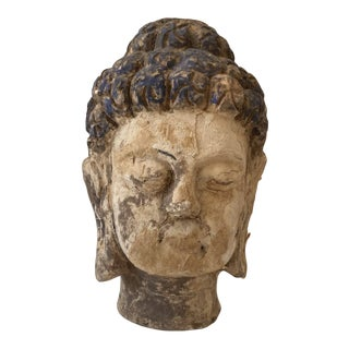 Early 20th Century Sculpture of Buddha Head For Sale