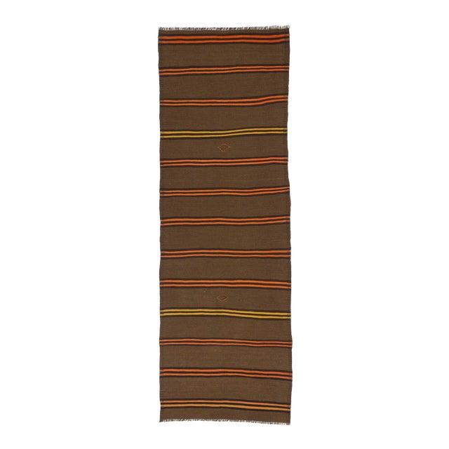 Vintage Orange & Yellow Striped Kilim Runner Rug - 3′2″ × 9′2″ For Sale