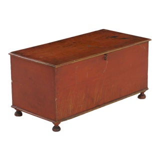 19th Century American Red-Painted Miniature Blanket Chest over Bottleneck Feet