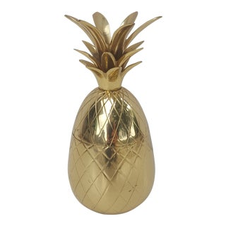 Vintage Hollywood Regency Brass Pineapple Container For Sale