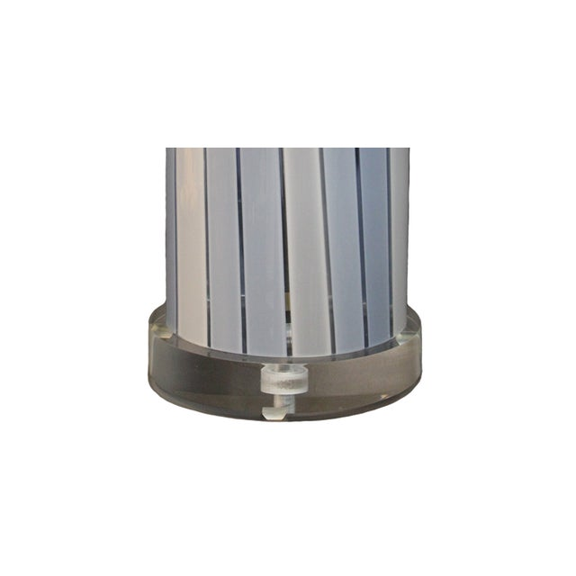 Contemporary Cilindro Blue and White Stripe Glass Lamp For Sale - Image 3 of 4
