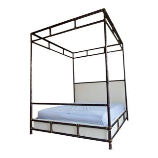 Henredon Furniture Jeffrey Bilhuber Hammered Metal Bank St King Canopy Bed For Sale