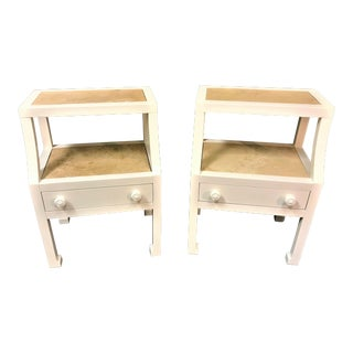 Hollywood Regency Lane Excursions End Tables With Travertine Inserts - a Pair For Sale
