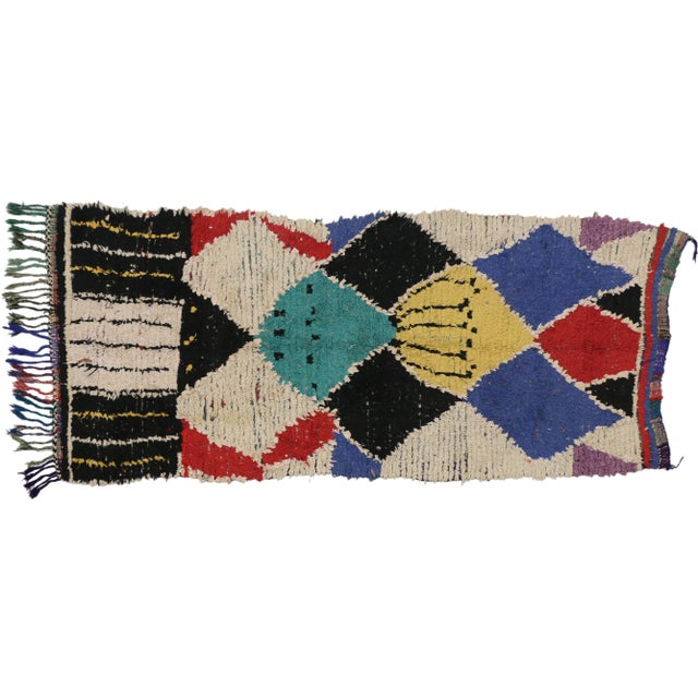 Vintage Berber Moroccan Runner With Tribal Style - 3'8 X 7'9 For Sale In Dallas - Image 6 of 6