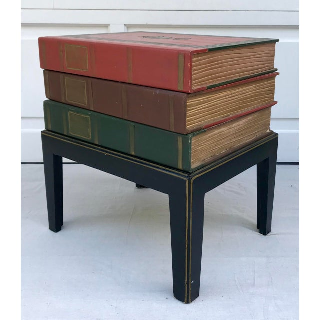 Vintage Figurative Faux Stack of Books Side Table For Sale In Los Angeles - Image 6 of 6