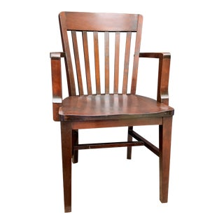 1940s Vintage Solid Oak Mahogany Finish Courthouse Chair For Sale