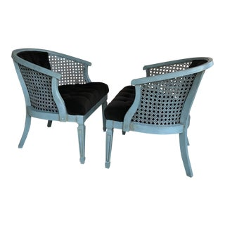 Turquoise & Brown Caned Arm Barrel Chairs - a Pair