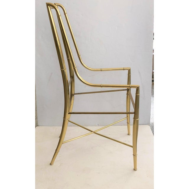 """Mid-Century Modern Mid-Century Modern Weiman/Warren Lloyd for Mastercraft """"Imperial"""" Brass Dining Chairs With White Ultrasuede Upholstery - a Set of 10 For Sale - Image 3 of 13"""