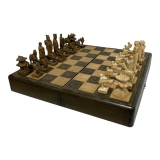 Asian Style Wood Carved Chess Set For Sale