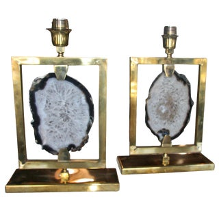 Pair of Italian Brass and Agate Lights For Sale