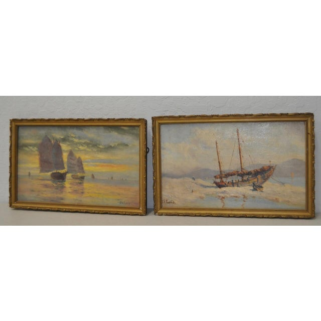 Early 20th Century Maritime Paintings by Thomas G. Purvis - a Pair For Sale In San Francisco - Image 6 of 8