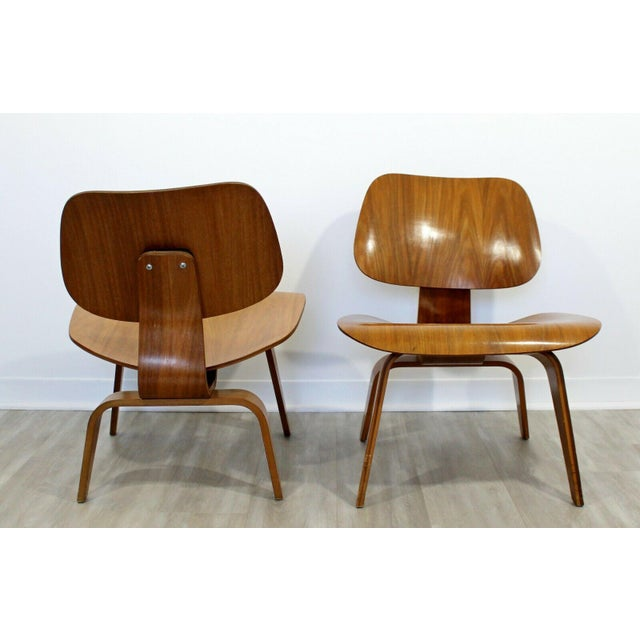 Mid Century Modern Pair Early Rare Charles Eames Lcw Lounge Side Chairs 50s For Sale In Detroit - Image 6 of 9