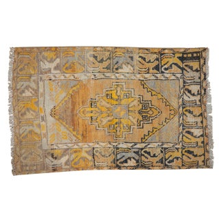 "Vintage Distressed Oushak Rug - 2'9"" X 4'2"" For Sale"