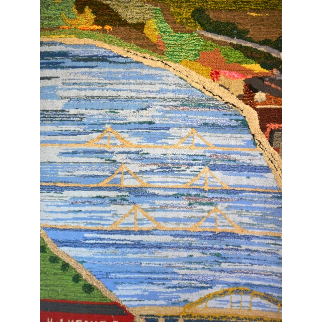 Textile 1960s Hand Woven Heinz Pittsburgh Pennsylvania Tapestry Fibre Art Wall Hanging For Sale - Image 7 of 12
