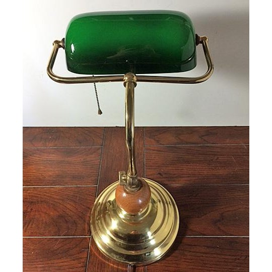 Green Vintage Brass & Emerald Green Glass Bankers Desk Lamp For Sale - Image 8 of 11