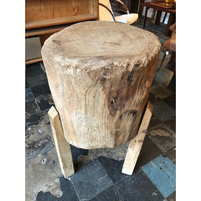 Incredible wood butcher block table from France. Made in the mid 20th century.